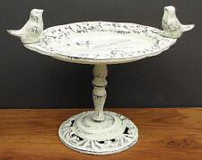 "Shabby White Bird Bath ~ Table Top 11 1/2"" Figural Finial Cast Iron Home/Garden"
