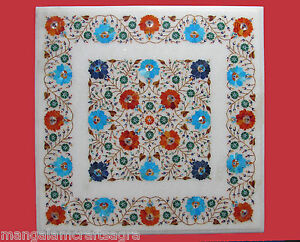 "23"" Marble Table Top Inlay Handmade Pietra dura Art"