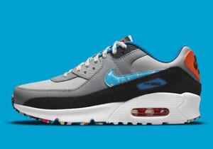 Nike Air Max 90 Swooshfetti Confetti Grey Fog Blue DM7594-001 5Y = 6.5 Women's