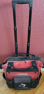 Husky 18in Zipper Top Rolling Weather Resistant Heavy Duty Tool Bag 13 Pockets