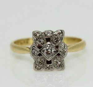 Vintage 18ct Yellow Gold 0.15ct Diamond Art Deco Cluster Ring (Size L, US 5 3/4)