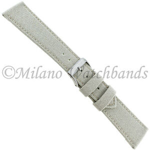 22mm Milano Cream Cordura Canvas Padded Stitched Mens Watch Band