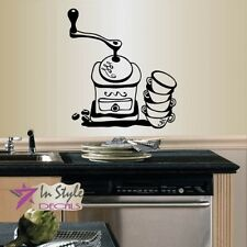 Vinyl Wall Decal Coffee Grinder Coffee Beans Cups Kitchen Café Coffee Shop 536