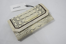 NWT Brahmin Checkbook Tri-Fold Leather Wallet in Fossil Tri-Texture