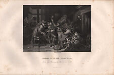 c1850 VICTORIAN PRINT ~ CHARLES I 1st IN THE GUARD ROOM ~