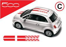 Fiat 500 OTT11 chequered flag bonnet roof stripes stickers decals C