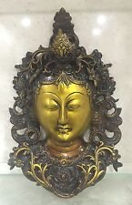 HEAVY 11.5'' TIBETAN BUDDHA FACE Tara Devi HEAD WALL Hanging BRASS Shamanism