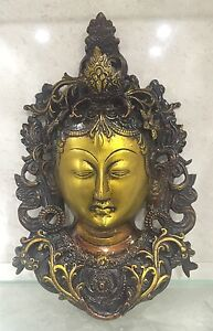 HEAVY 11.5'' TIBETAN BUDDHA FACE Tara Devi HEAD WALL Hanging BRASS Shamanism