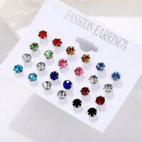 12Pairs Crystal Color Earring Sets Women Ear Stud Zircon Stainless Steel Jewelry