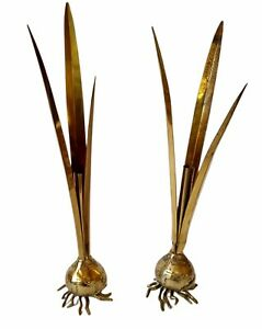 "Vintage Pair of 2 Carnevale Brass Figural Bud Flower Tulip Bulb Shaped Vase 13"""