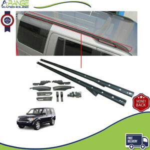 FIT LAND ROVER DISCOVERY 3 & 4 ALUMINIUM EXTENDED ROOF RAILS BARS BLACK 100% OEM