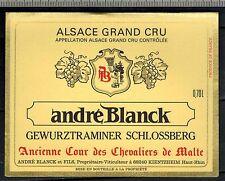 "Etiquette """" Vin D'Alsace Grand Cru - Gewurztraminer Schlossberg "" - Réf.n°281"