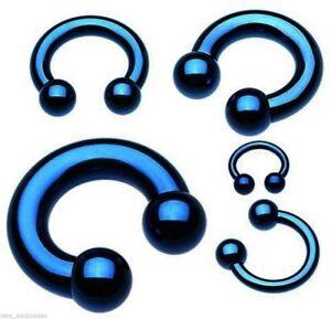 "Horseshoe Heavy 10 Gauge 1/2"" Titanium IP Blue 6mm Balls Body Jewelry"