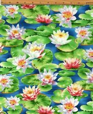 New Michael Miller A Summer Day Mid Century Water Lilies Monet fabric BTY Nature