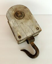 Vintage Wood Pulley & Hook Industial Decor Shabby Nautical Country Farmhouse