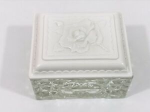 Vintage Treasure Box Fire King Lead Glass Trinket Box Milk White Rose Lid