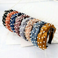 Women's Band Wide Headband Accessories Pearl Hair Knot Hoop Hairband Tie Fabric