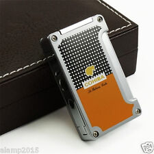 COHIBA ORANGE CLASSIC METAL WIND-PROOF 1 TORCH JET FLAME CIGAR LIGHTER W/ PUNCH
