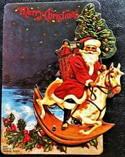 Vintage Merrimack Christmas Postcard Santa On A Rocking Horse That Really Rocks