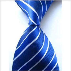 Dark & Light Blue Hand Woven 100% Pure Silk Tie with White Stripe Pattern