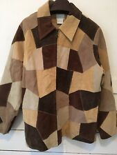 Patchwork Suede Leather Jacket Coat Brown Tan Zip Pockets Quilted Lining Size M