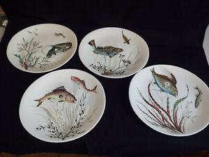 Four superb vintage Johnson Bros Fish pattern plates,designs 1,2,3&4.