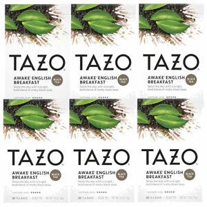 Tazo Awake English Breakfast Black Tea Bags Highly Caffeinated 20 ct (Pack of 6)