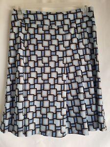 Margaret Frances Womens Skirt  Geo Print Blue Brown White Side Zip Sz6 Pre Owned