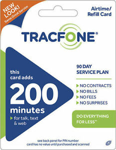 TRACFONE WIRELESS  Prepaid $39.99  Refill 200 MINUTES 90 DAYS SERVICE PIN EMAIL