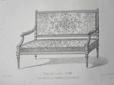 Canapé laqué style LOUIS XVI GRAVURE le MAGASIN de MEUBLES Victor QUETIN XIXéme