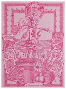 "Jacquard Francais ""Potager de Roi"" (Raspberry), Woven cotton tea towel. France"