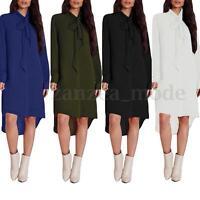 UK 8-24 Chiffon Loose Long Sleeve Tops Shirt Asymmetric Evening Party Maxi Dress