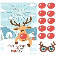 Pin the Nose on the  Reindeer - Funny Game Christmas Party Rudolph X 24 Noses