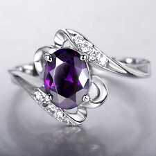 CB55 2.5ct Natural Amethyst 6*8MM 14K White solid Gold Ring Size US 8