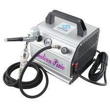 OPHIR 0.3mm Dual Action Airbrush with110V  Air Compressor for Cake Decoration