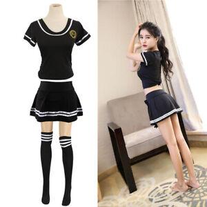 Women Sexy School Uniform Girls Student Fancy Dress Costume Cosplay Outfit Skirt