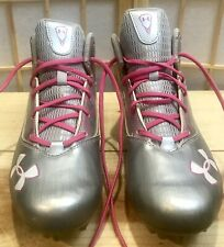 Under Armor Lacrosse Shoes Cleats Silver Pink Men10.5 Rip Shot Mid In Guc!