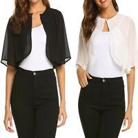 Women Summer Short Sleeve Sheer Open Front Chiffon Shrug Cardigan Tops Cover Up