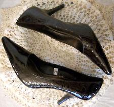 Merona Moc Croc Gators Shoes size 9 Dark Brown High Heel Cushion Footbed Sox Tab