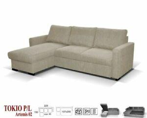 NEW LARGE CORNER SOFA BED STORAGE BEIGE  FABRIC TOKIO  LEFT RIGHT