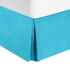 Luxury Pleated Tailored Bed Skirt - 14� Drop Dust Ruffle, Cal King - Beach Blue