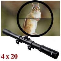 Air Rifle Airgun Gun Scope 4x20 TELESCOPIC SIGHT Fitted 9-11mm Mounts Rings H HL