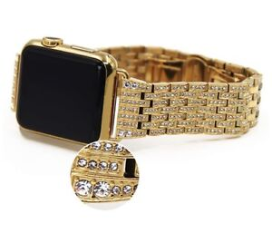 24K Gold 42MM Apple Watch 24K Gold Links Band with Diamond Rhinestone Gen 1