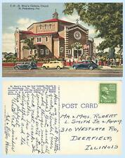 St Marys Catholic Church St Petersburg Florida Teich 1947 Postcard