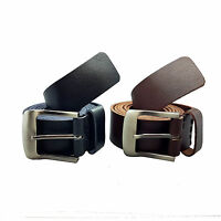 "Men Black Brown 1.5"" Real Full Grain Genuine Leather Belts Metal Buckles 26-60"""
