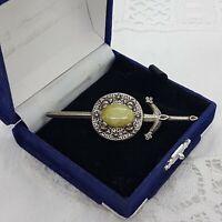 VINTAGE Scottish Sword Brooch Green Stone Long Kilt Pin Sash Shield MIRACLE