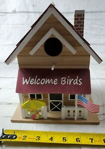 Welcome Birds Cute Decorative Wooden Bird House Hang or Place
