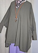 "Khaki BATWING Jumper 100""+Bust PLUS SIZE Stretch Cotton Blend Tunic Top BOHO"