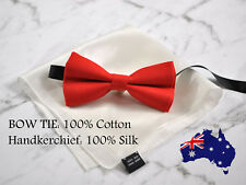 MENS RED SOLID COTTON BOW TIE POCKET SQUARE WHITE 100% SILK Hanky Handkerchief