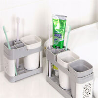 Bathroom Toothbrush Storage Organiser Dispenser Cup Holder Rack Stand Wall Mount